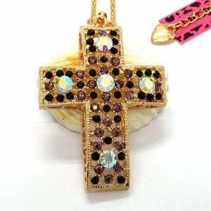 Fashion Purple Crystal Cross Pendant Necklace
